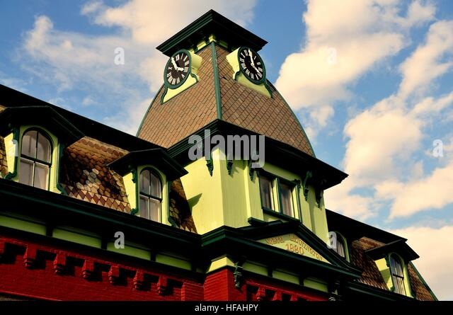 Bennington Vermont  September 18 2014 Mansard Roof With Clock Tower At The