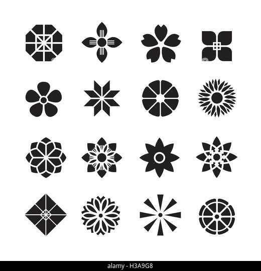 Flowers ornament icon vector set stock vector