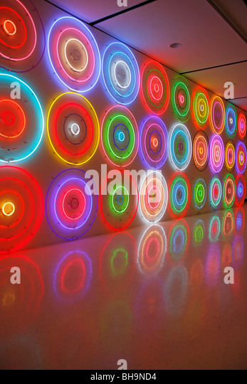 Neon wall art circles - Stock Image