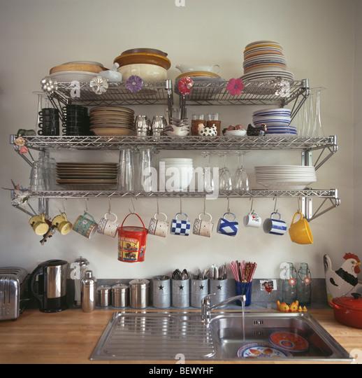 Shelves Above Kitchen Sink Stock Photos & Shelves Above