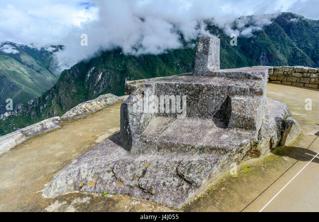 Intiwatana observatory rock in sacred city of Machu Picchu - Stock Image