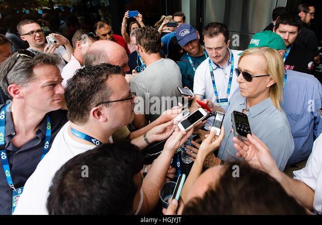 melbourne australia 23rd jan 2017 martina navratilova talks to the media at