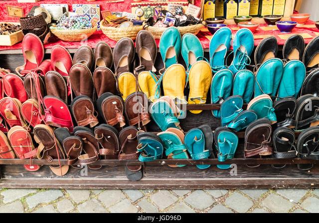 KORNELIMUENSTER, GERMANY, 18th June, 2017 - shoes for sale on the historic fair of Kornelimuenster. - Stock Image