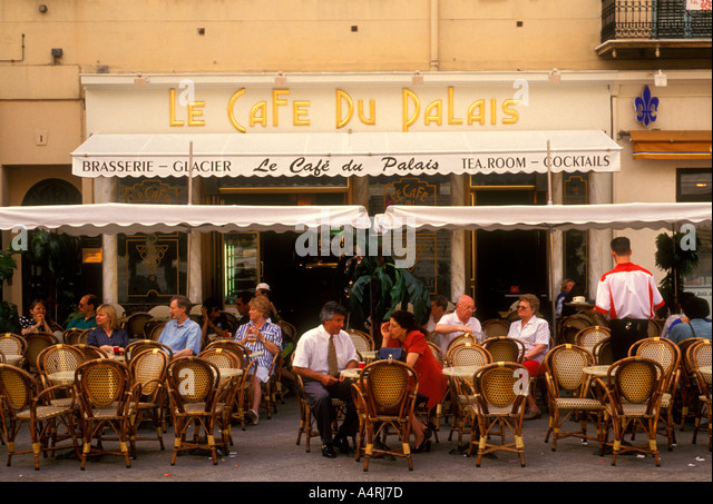 French People Tourists Eating Dining Le Cafe Du Palais Restaurant