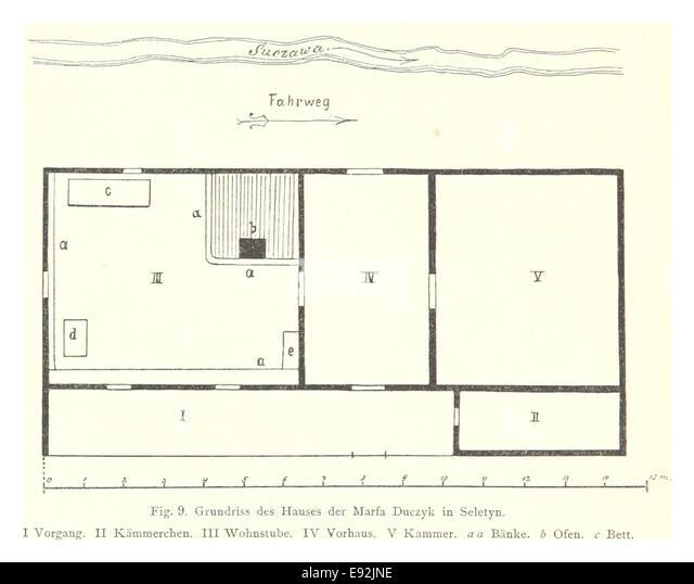 46 Grundrissplan Eines Huzulenhauses In Seletyn   Stock Image