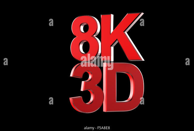 Full ultra hd 8k 3d logo isolated with black stock image