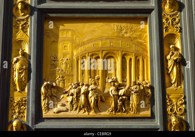 Detail of the Baptistery Doors at the Battistero di San Giovanni Florence - Stock Image & Florence Baptistery Stock Photos \u0026 Florence Baptistery Stock ... Pezcame.Com