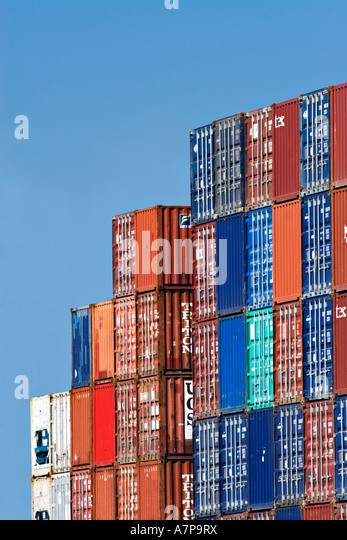 Shipping Industry / Shipping containers stacked in a port container depot  in the 'Port of