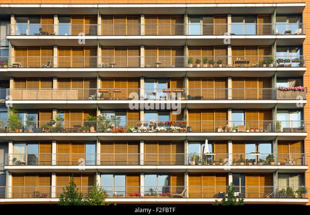 Modern Apartment Building Facade pattern building facade balconies stock photos & pattern building