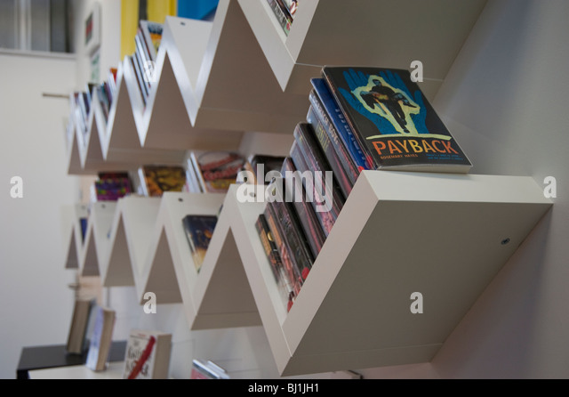 Angled Bookshelf library book shelves bookshelves stock photos & library  book