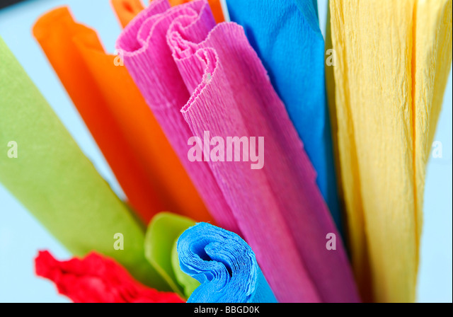 rolls of coloured crepe paper stock image