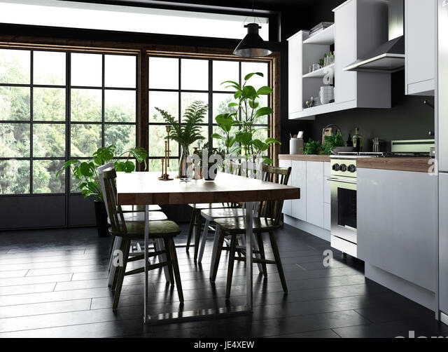 Dining Table And Chairs In An Open Plan Kitchen With Fitted Cabinets Appliances Front