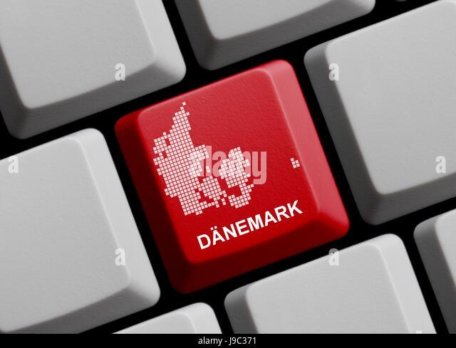 denmark, card, outline, copenhagen, danish, atlas, map of the world, map, - Stock Image