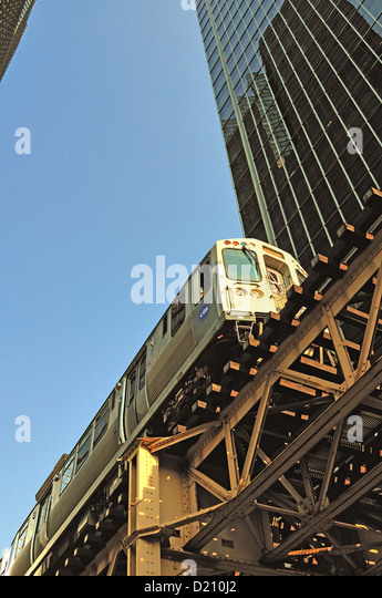 Chicago cta stock photos chicago cta stock images alamy usa illinois chicago cta green line rapid transit train on elevated structure above lake street in sciox Gallery