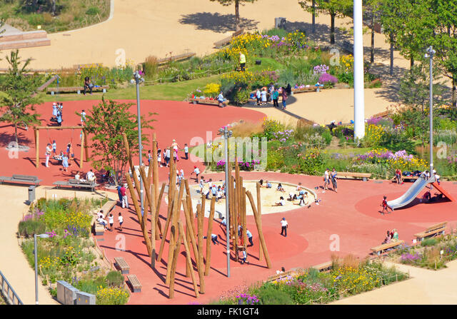 Kids Playing Outdoors In Playground Area Queen Elizabeth Olympic Park At Stratford Newham East London England