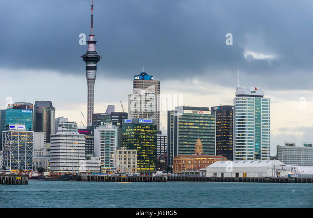 The skyline of Auckland, North Island, New Zealand, Pacific - Stock Image