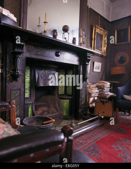 Large Black Marble Fireplace In Original Edwardian Study