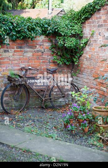 Bike As Garden Ornament   Stock Image