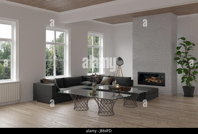 Cozy Living Room Corner With Modular Sofa Modern Glass Topped Coffee Table,  Radiators And A