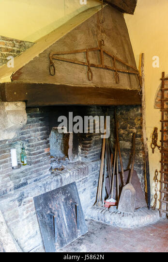 Traditional Kitchen With Fireplace Stock Photos