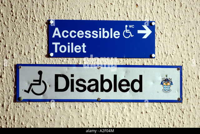 Disabled toilet sign on Worthing seafront in the UK   Stock Image. Disabled Toilet Sign Stock Photos   Disabled Toilet Sign Stock