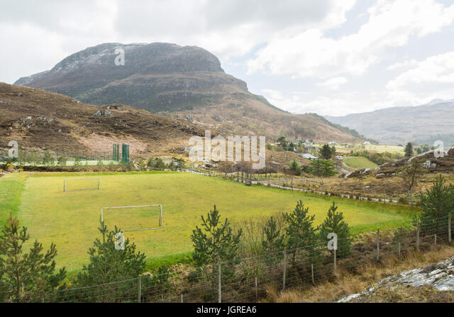 rural sports facilities in remote Scottish village of Shieldaig, Scotland, UK - Stock Image