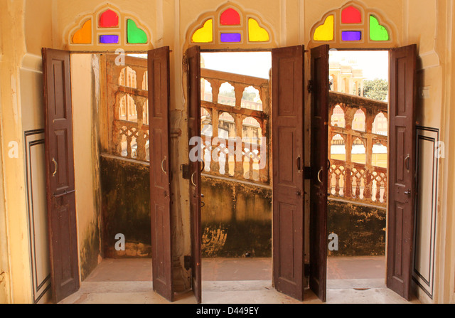 Three Open Doors With Colored Glass Hawa Mahal Palace Of Wind Jaipur  Rajasthan India   Stock