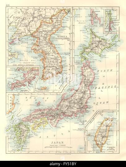 Japanese Map Antique Stock Photos Japanese Map Antique Stock - Japan map 1920