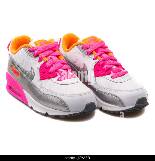 pretty nice ac1d7 fbc25 Nike Air Max 90 Mesh (PS) White, Silver and Pink Kid s Running Shoes
