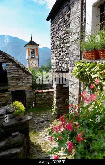 Corippo Ticino Alps Rustic Village Stock Photos Corippo