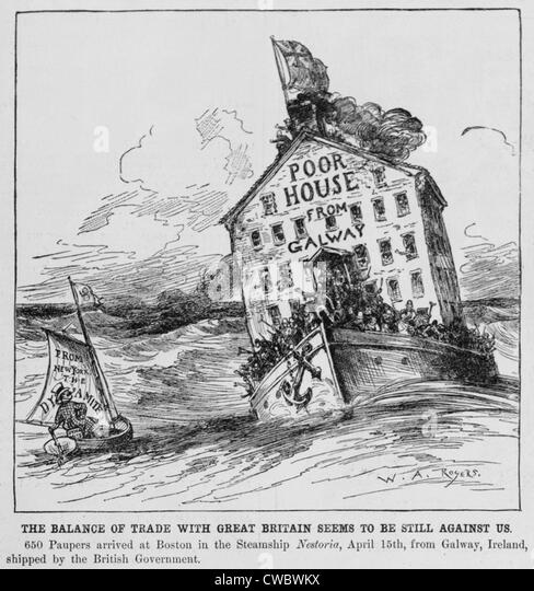 Anti immigrant cartoon showing two men with barrels as bodies labeled