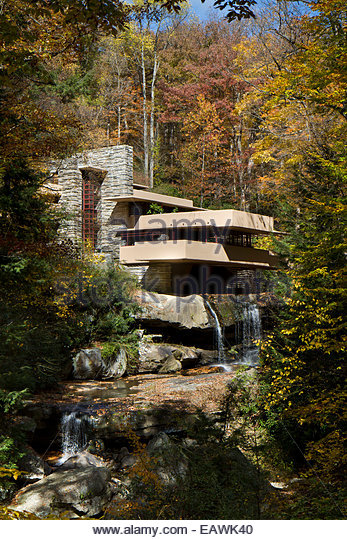 Fallingwater, a residence designed by Frank Lloyd Wright, and built over a  waterfall.