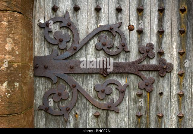 Hinge on the door of Kirkmadrine Church near Sandhead Dumfries and Galloway Scotland & Iron Church Door Hinge Stock Photos \u0026 Iron Church Door Hinge Stock ...