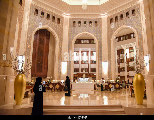 Oman Muscat Entrance hall of Al-Bustan Palace Hotel - Stock Image