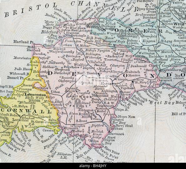 Devon Map Stock Photos & Devon Map Stock Images