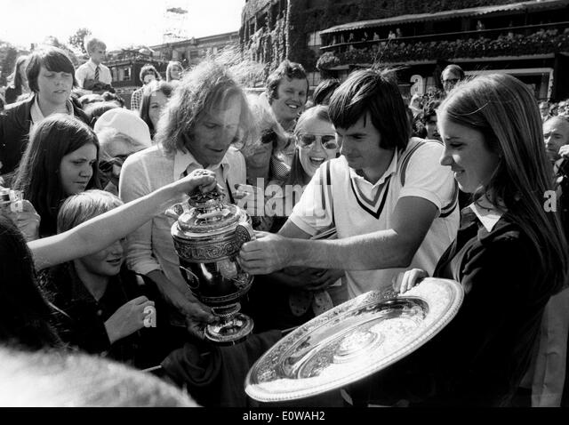 tennis player jimmy connors celebrates win with fans stock image