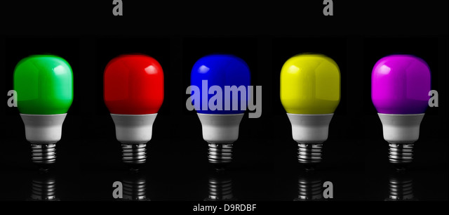 colored light bulbs in row stock image - Colored Light Bulbs