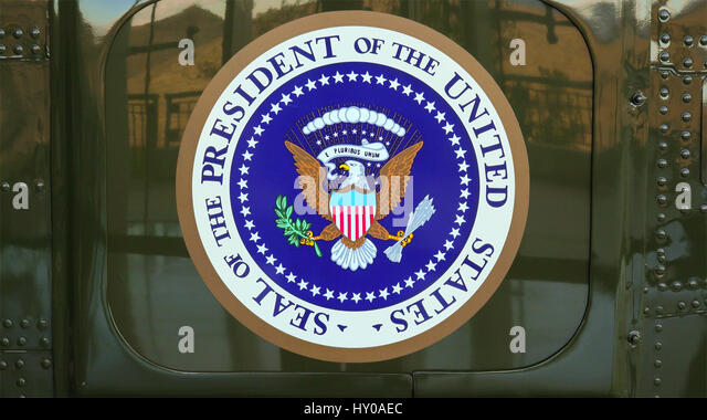 presidential seal on the side of presidential helicopter marine one at the ronald reagan