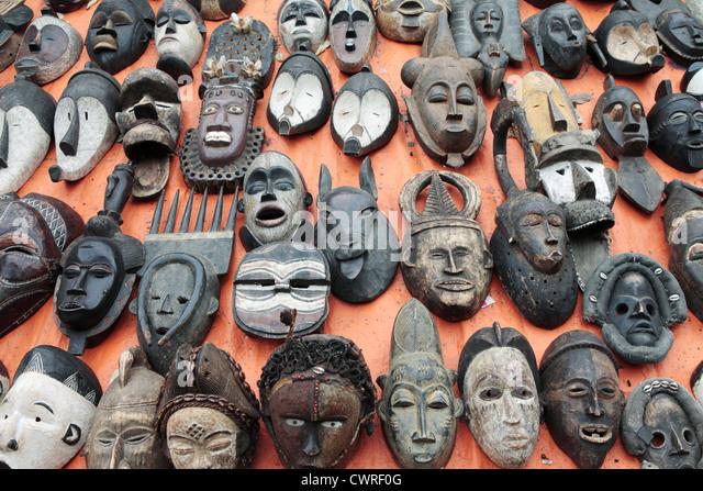 African Wooden Masks Stock Photos
