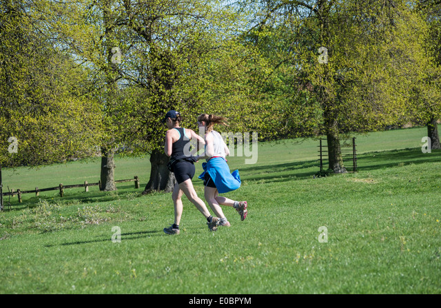 Mother And Daughter Jogging Home Park Kingston Surrey England London