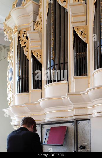 Organist Plays The Pipe Organ In Church Weltewitz Saxony Builder Was