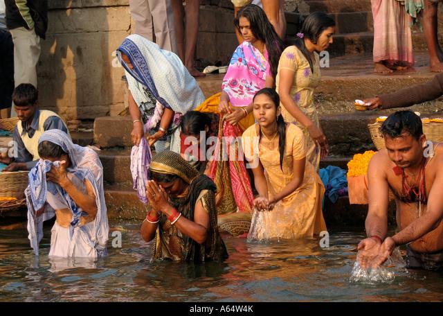 Ganga River Bath Women Bathing Varanasi...