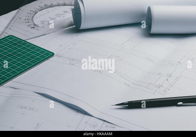 Engineering diagram blueprint paper drafting stock photos engineering diagram blueprint paper drafting project sketch architecturalselective focus stock image malvernweather Images