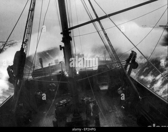 Trawler in high seas north atlantic september 1960 stock image
