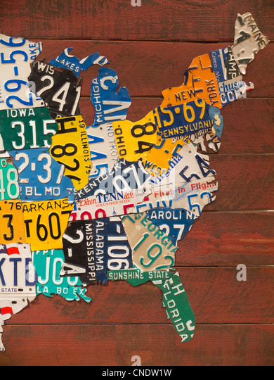 Map Made With License Plates Stock Image