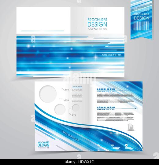 Abstract Technology Background Design Half Fold Stock Photos - Technology brochure template