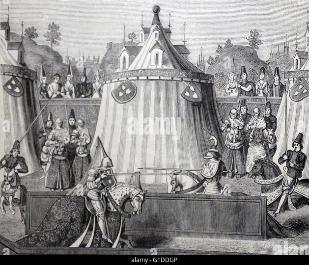 Engraving depicting a 15th Century Jousting Tournament - Stock Image & Jousting Tent Stock Photos u0026 Jousting Tent Stock Images - Alamy