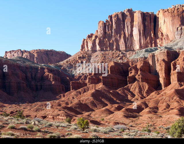 Fluted Wall at Capitol Reef National Park in Utah, USA. - Stock Image