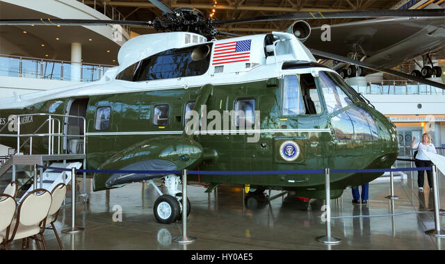marine one presidential helicopter at the ronald reagan presidential library stock image