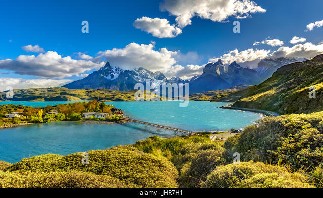 Torres del Paine over Pehoe lake,Patagonia, Chile - Southern Patagonian Ice Field, Magellanes Region of South America - Stock Image